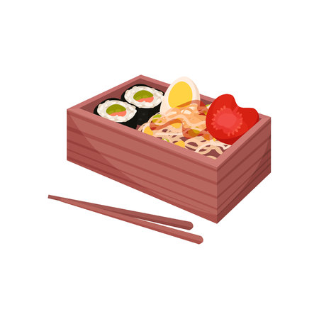 Japanese food in traditional box with chopsticks. Asian culture and traditions. Bento and bentobox concept. Healthy food east. Vector flat illustration. Illustration