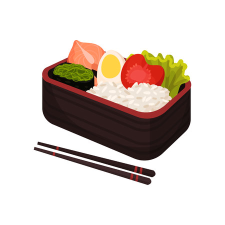 Japanese food in lunchbox on white background. Traditional oriental cuisine. Eastern takeaway. Vector flat illustration. Stock Vector - 124287406