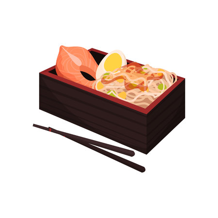 Japanese food in box with chopsticks on white background. Bento and bentobox concept. Traditional oriental cuisine. Eastern takeaway. Vector flat illustration. Illustration