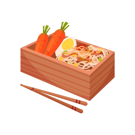 Japanese food in traditional box with chopsticks on white background. Bento and bentobox concept. Eastern takeaway. Vector flat illustration.