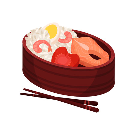 Japanese food in lunchbox on white background. Traditional oriental cuisine. Eastern takeaway. Vector flat illustration.
