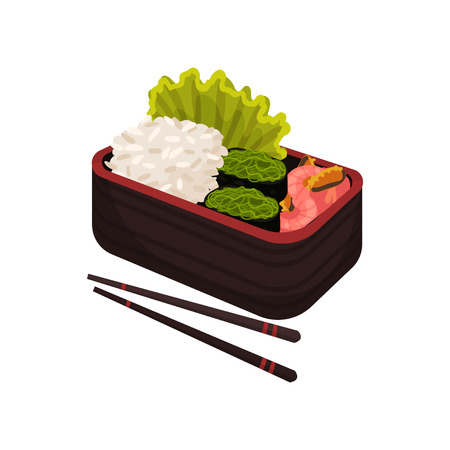 Asian culture and traditions. Japanese food in lunchbox on white background. Bento and bentobox concept. Healthy food east. Vector flat illustration.