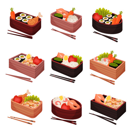 Japanese food with chopsticks on white background. Bento and bentobox concept. Asian culture and traditions. Traditional oriental cuisine. Vector flat illustration.
