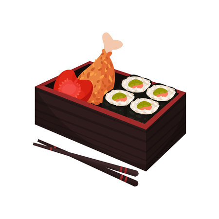 Japanese food in lunchbox on white background. Traditional oriental cuisine. Eastern takeaway. Vector flat illustration. Illustration