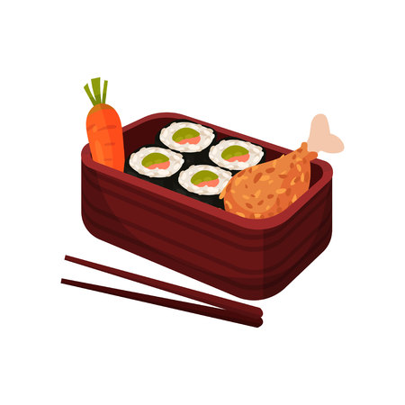 Japanese food in traditional box with chopsticks. Bento and bentobox concept. Asian culture and traditions. Traditional oriental cuisine. Vector flat illustration. Illustration