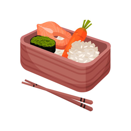 Japanese food in lunchbox. Bento and bentobox concept. Japanese food in box with chopsticks. Vector flat illustration.