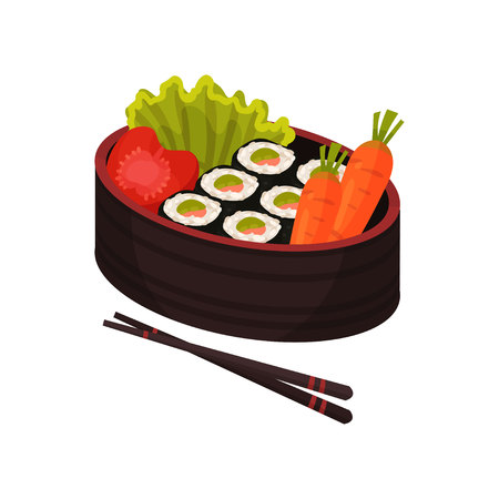 Bento and bentobox concept. Japanese food in lunchbox on white background. Asian culture and traditions. Eastern takeaway. Vector flat illustration.