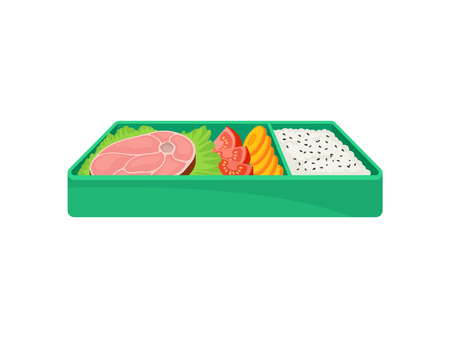 Japanese food in green lunch box on white background. Bento concept. Healthy food east. Tasty dinner in lunchbox. Vector flat illustration. Illustration