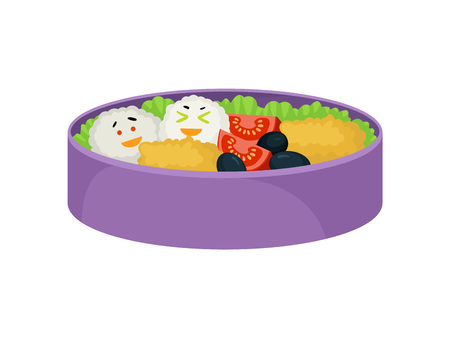 Japanese food in purple lunchbox on white background. Healthy food east. Tasty dinner in lunc hbox. Vector flat illustration.