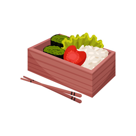 Japanese food in lunchbox. Healthy food east. Illustration