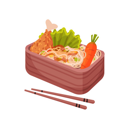 Japanese food in lunchbox on white background. Bento and bentobox concept. Asian culture and traditions. Eastern takeaway. Vector flat illustration.