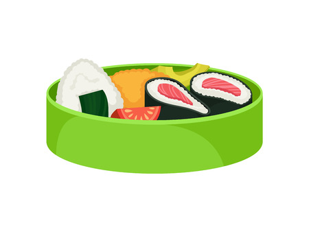 Japanese food in green lunchbox on white background. Bento concept. Asian culture and traditions. Vector flat illustration.
