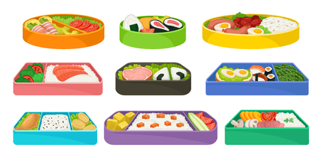 Japanese food in colorful lunch boxes set. Bento concept. Asian culture and traditions. Healthy food east. Food in lunchbox on white background. Vector flat illustration.