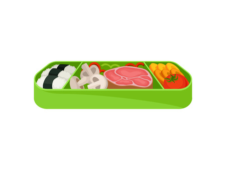 Japanese food in green lunch box on white background. Asian culture and traditions. Tasty dinner in lunchbox. Vector flat illustration.