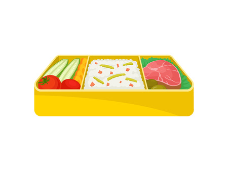 Japanese food in yellow lunchbox on white background. Bento concept. Asian culture and traditions. Tasty breakfast in lunch box. Vector flat illustration. Illustration