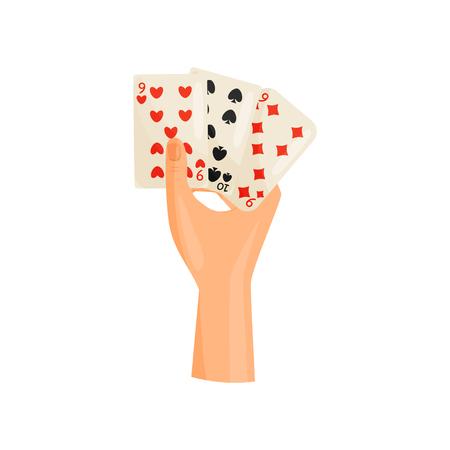 Playing cards concept. Entertainment and dexterity arms. Vektoros illusztráció