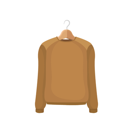 Brown sweater on clothes hanger. Fashion concept. Illustration