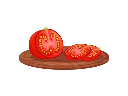 Tomato on cutting board on white background.