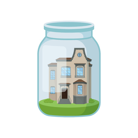 House in glass jar on white background.