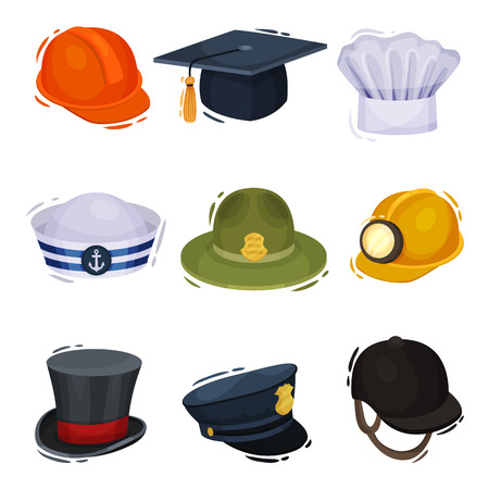 Professional hats on white background. Vector illustration. Ilustrace