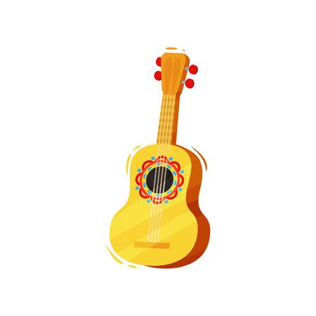 Guitar on white background. Vector flat illustration.