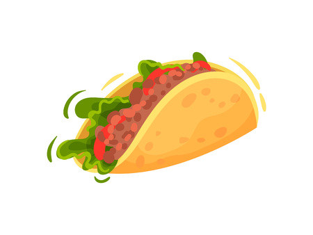 Traditional mexican food on white background. Taco concept.