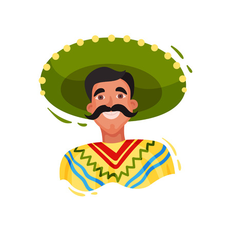 Mexican man in sombrero on white background Illustration