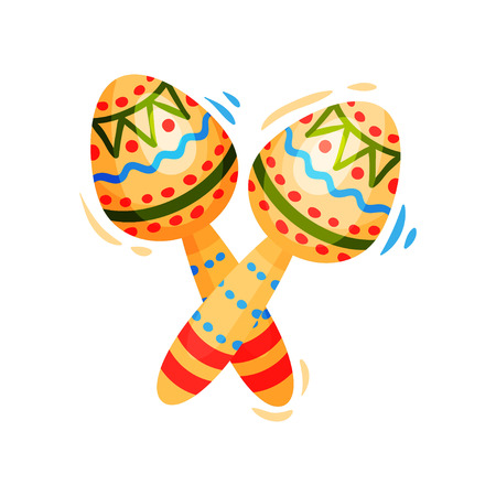 Maracas with ornament on white background. National holiday concept. Culture and traditions of Mexico. Vector flat illustration.