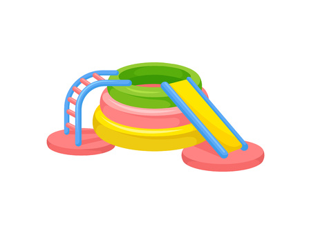 Colorful inflatable slide. Playground concept. Vector illustration.