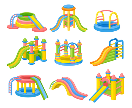 Colorful inflatable slides concept. Vector flat illustration.