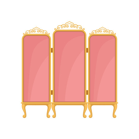 Pink screen on white background. Princess furniture concept. Decor element for living room. Royal room interior design. Vector flat illustration.