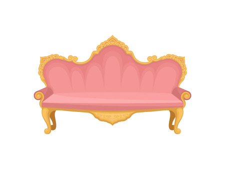 Pink sofa on a white background. Princess furniture. Fabulous lifestyle. Retro interior object for apartment. Vector flat illustration.