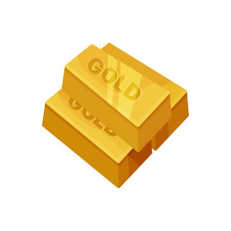 Gold bar on white background. Precious metal.