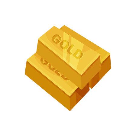 Gold bar on white background. Precious metal.