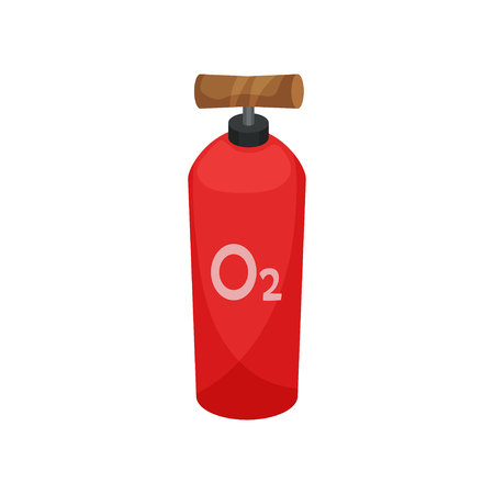Oxygen cylinder on white background. Miner tool.