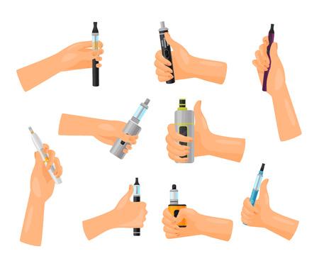 Vape advertising concept. Technology smoking and vaporizer. Hand holding vape on white background. Modern electronic cigarette. Vector flat illustration.