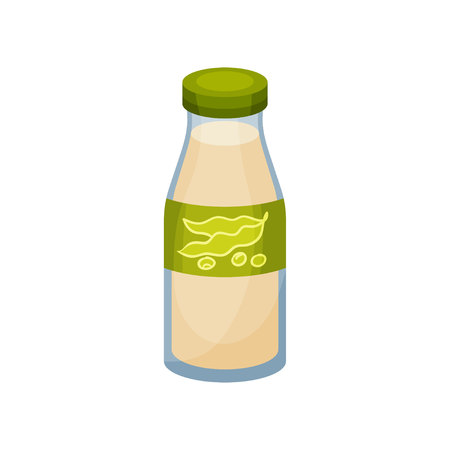 Soy milk in bottle on white background. Soybean concept. Organic meal and healthy lifestyle. Soy product. Vector flat illustration.