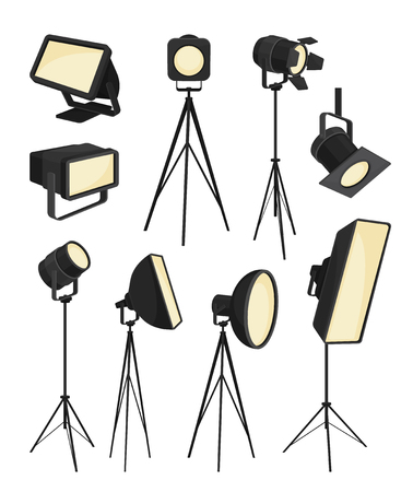 Collection of spotlight on white background. Showcase lighting. Bright light modern technology. Vector flat illustration.