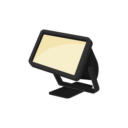 Spotlight on white background. Searchlight concept. Light modern technology. Lighting show. Vector flat illustration.