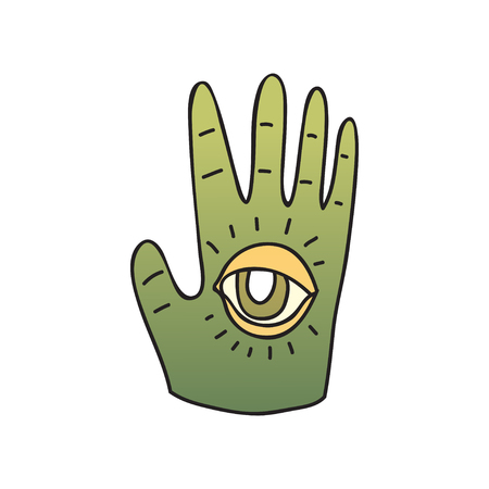 Green palm with seeing eye on white background.