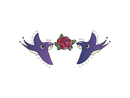 Swallows with flower on white background. Vector illustration.