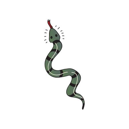 Snake tattoo on white background. Vector flat illustration.
