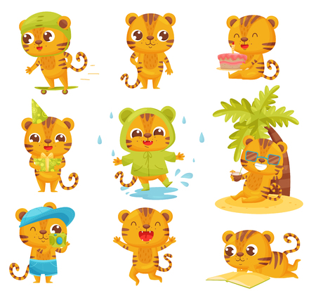 Collection of little tigers on white background. Striped cartoon tiger. Childhood and fun. Vector flat illustration.