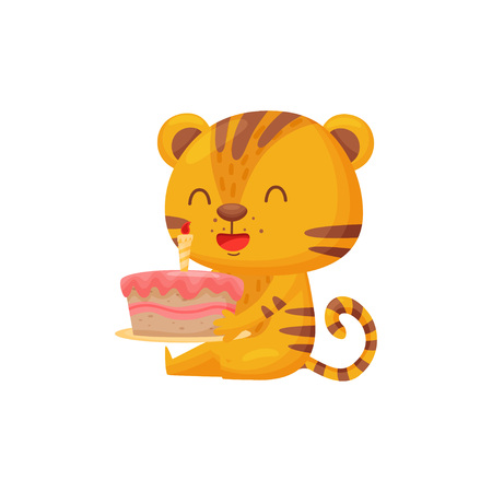 Happy tiger with cake on white background. Birthday concept. Striped cartoon tiger. Childhood and fun. Vector flat illustration. Vectores