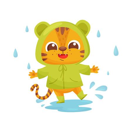 Happy tiger in green raincoat in rain. Vectores