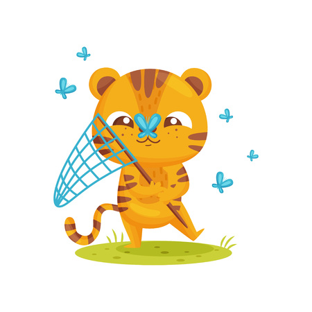 Happy tiger catches butterflies on white background. Striped cartoon tiger. Childhood and fun. Vector flat illustration.