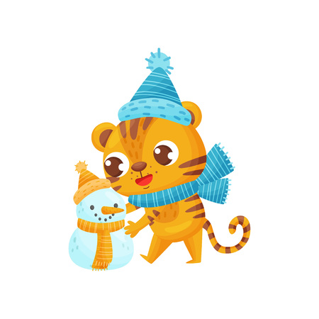 Happy tiger sculpts snowman on white background. Striped cartoon tiger. Childhood and fun. Vector flat illustration.
