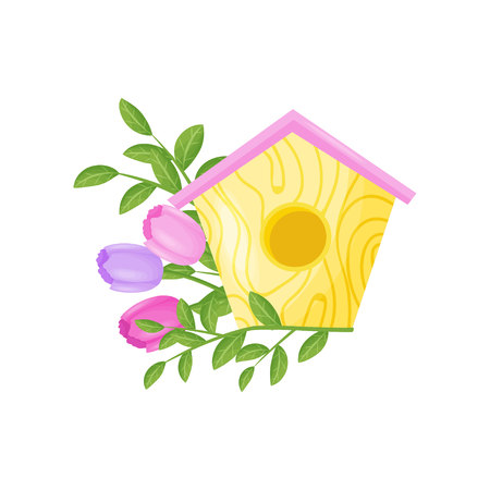 Birdhouse with flowers on white background. Spring and floral concept. Vector flat illustration.