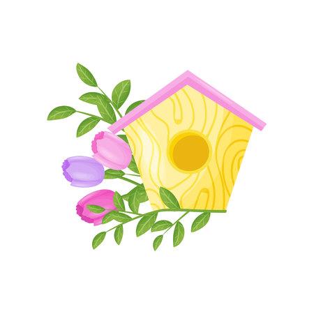 Nichoir avec des fleurs sur fond blanc. Concept printanier et floral. Plate illustration vectorielle.