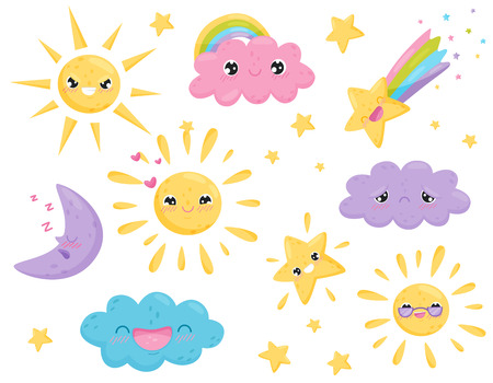 Weather forecast and funny emotions on white background. Meteorology and seasons. Features weather and cute cartoon face. Vector flat illustration. Illusztráció